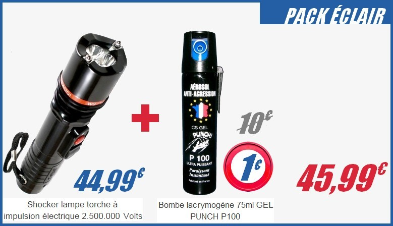 Shocker lampe torche électrique et spray auto défense GEL PUNCH 75ml