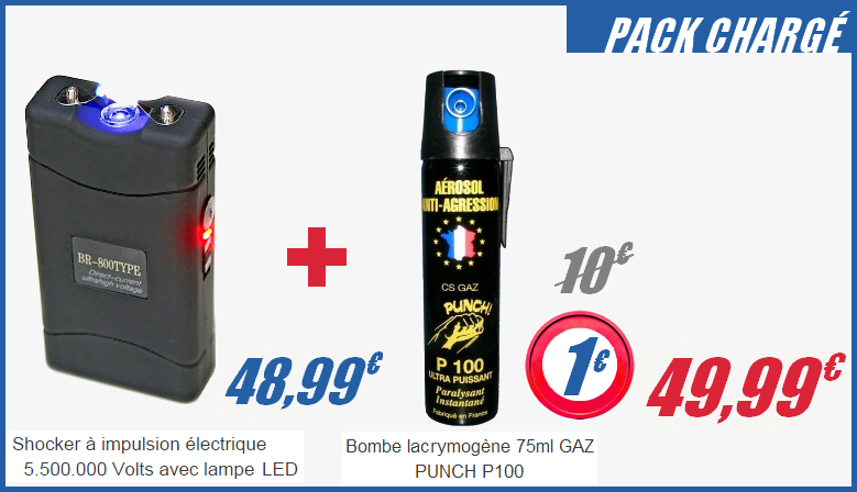 Pack Shocker électrique 5.500.000 Volts avec lampe LED + 75 ml GAZ PUNCH P 100