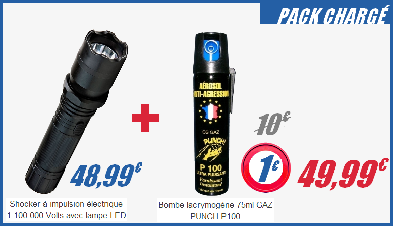 Pack Shocker électrique 1.100.000 Volts et lampe LED + 75 ml GAZ PUNCH P100